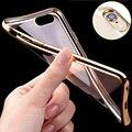 Роскошный Мягкий Силиконовый Case Для iPhone 5 5S 5C SE 6 6 S 7 плюс Позолоченный Гибкая ТПУ Бампер Ультра Тонкий Телефон Задняя Крышка тонкий