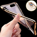 Luxury Soft Silicon Case For iPhone 5 5S 5C SE 6 6S 7 Plus Gold Plated Flexible TPU Bumper Ultra Thin Phone Back Cover Slim
