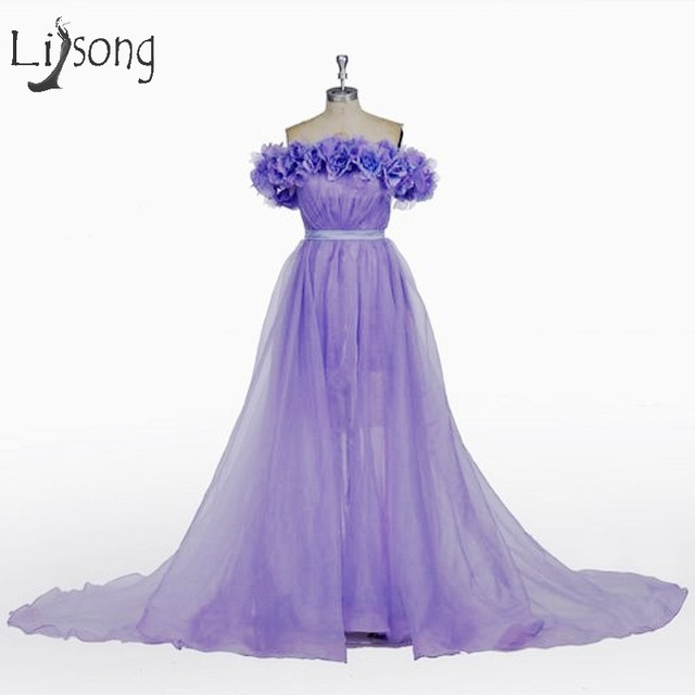 dd780ee5b3c Pretty Saudi Arabic Lavender 3D Flower Prom Dresses 2017 Tulle Prom Gowns  Boat Neck Party Dress Vestido De Formatura A004