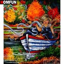 HOMFUN 5D DIY Diamond Painting Full Square/Round Drill Cartoon fat woman Embroidery Cross Stitch Mosaic Home Decor Gift A09455