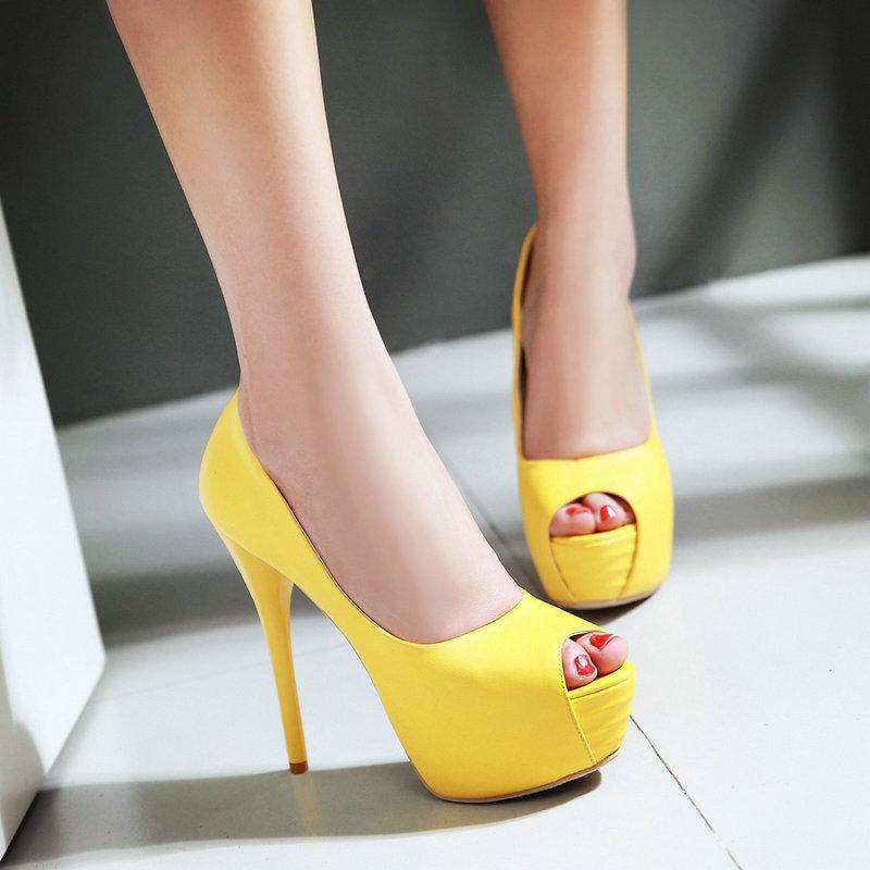 Ultra high heeled Platform Shoes Female 2016 Fashion Sexy Peep Toe Party Evening Shoes Thin Heels