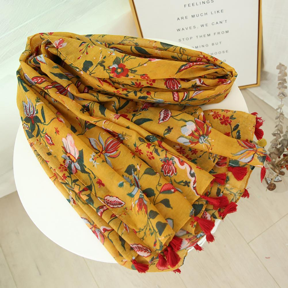 New Vintage Chic Fashion Flower Tassel Women Vacation Beach Travel Sun Protection Scarf Shawl