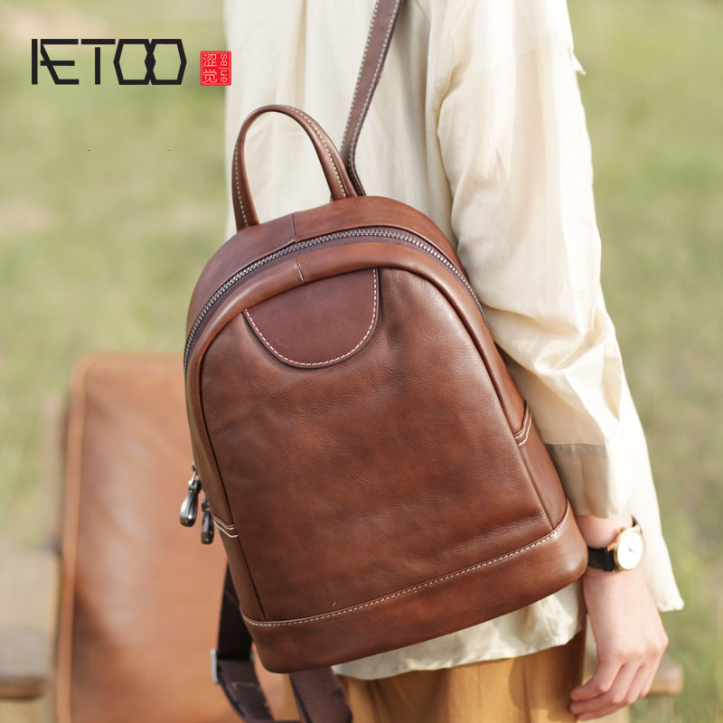 AETOO New brown leather shell shoulder bag female retro bag handmade leather soft leather backpack aetoo spring and summer new leather handmade handmade first layer of planted tanned leather retro bag backpack bag