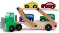 [TOP] DIY Wooden Truck Toy Double deck trailer car model Kids Early Educational Diecasts Toys Colorful Vehicle Blocks Set gift