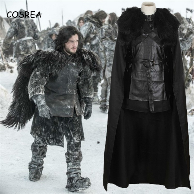 COSREA Game of Thrones Costume Jon Snow Costume Outfit With Coat Halloween Clothing Ault Men Cosplay Costume Full Set