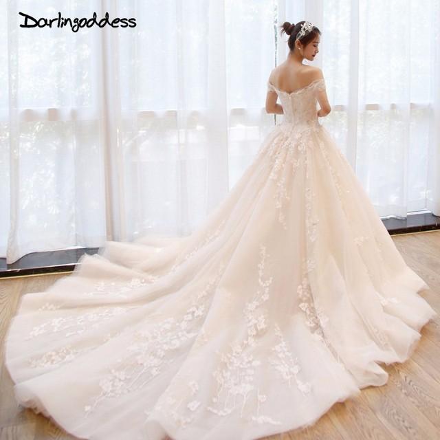 Darlingoddess Vestido De Noiva Royal Train Sweetheart Ball Gown Wedding Dresses 2018 Appliques Flowers Vintage Lace Bride Gowns