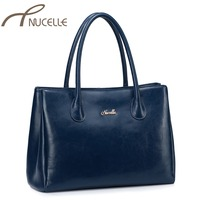 NUCELLE Women Split Leather Handbags Female Dress OL Tote Bags Ladies Classical Business Elegant Leather Shoulder