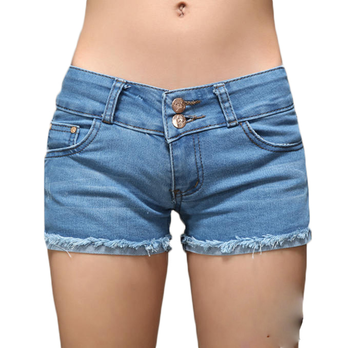 Women Casual Jeans Denim Short Women Shorts Womens Fashion Skinny Blue Pleated Shorts For Ladies ...