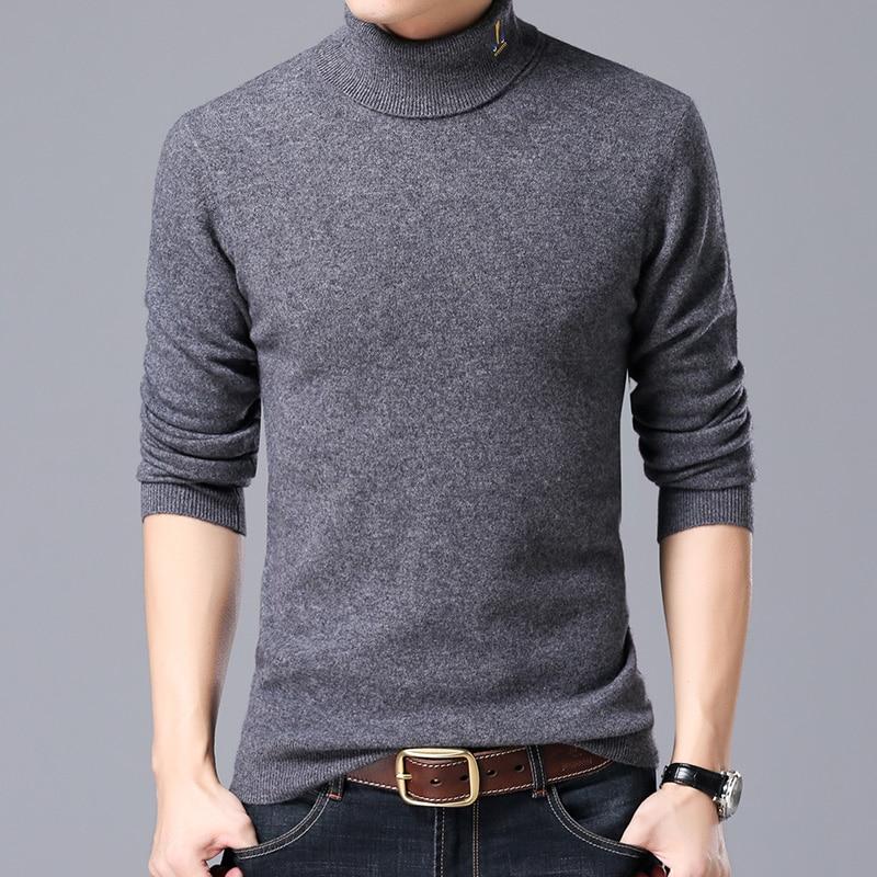 Hommes d'hiver de haute pull col épais solide afflux de la version coréenne de casual hommes de chandail pur laine chandail vêtements