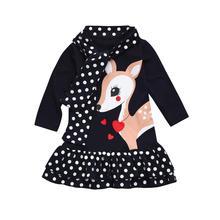 2017 Moda Outono Manga Longa de Impressão Dos Desenhos Animados Dos Cervos Do Bebê Party Girl Crianças Princesa Crianças A-Line Vestido Tutu Vestido Ocasional Diária