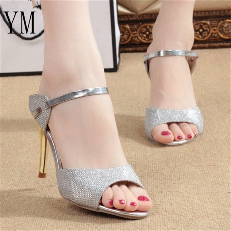 Hot Summer Women Pumps Small Heels Wedding Shoes Gold