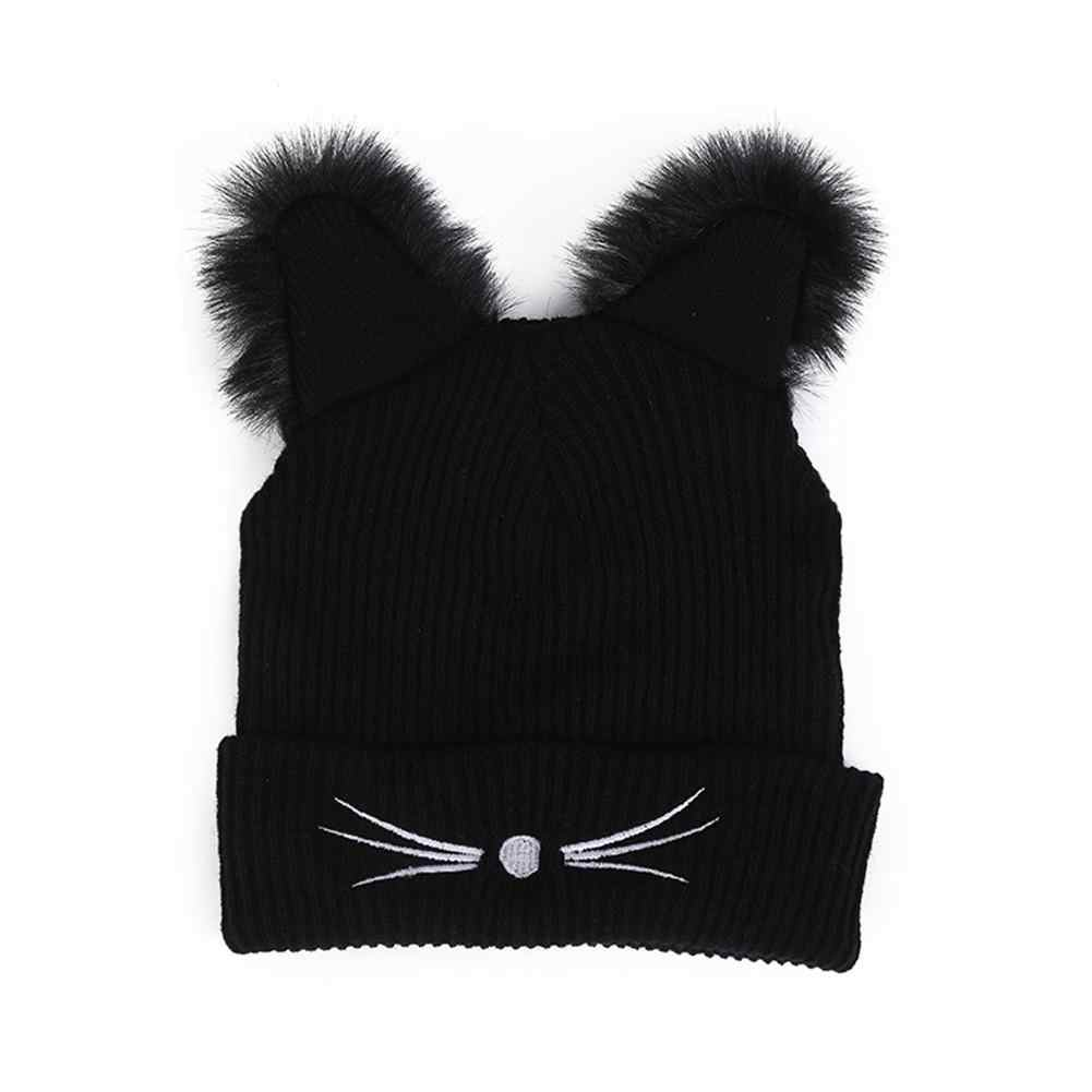 Warm Winter Hat Fashion Lovely Cat Ear Hat For Women Ins Hot Harajuku Knitted Hats Skullies Female Beanies Bonnet Faux Mink