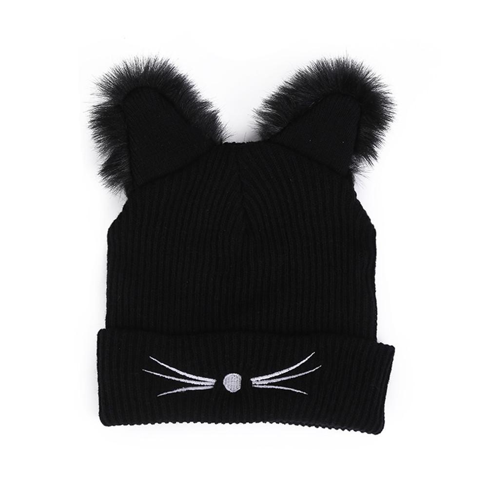 Warm Winter Hat Fashion Lovely Cat Ear Hat For Women Ins Hot Harajuku Knitted Hats Skullies Female Beanies Bonnet Faux Mink