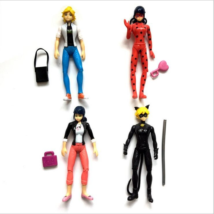 Electric 4PCSSET Miraculous Ladybug 12cm Flash ladybug with super cat figures ornament Ladybug magic girl LED light