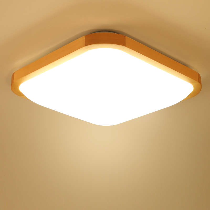 Modern Brief Logs Wood LED Ceiling Lamp Remote Control Home Deco Apple  Acrylic Dimming Ultra