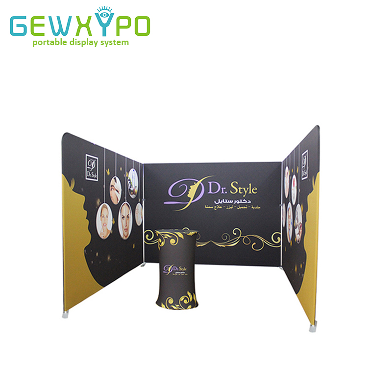 Trade Show Booth Straight 10ft Width Advertising Fabric Cover Display Wall With One Side Printing And Portable Podium Oval Table