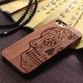 Cajas del teléfono de madera para el iphone 6 6 s 6 plus 6 s plus 5 5S SE 5 S 5G Cubierta Trasera Talla Patrones PC Bordes De Goma De Plástico + Cascarón De Bambú,