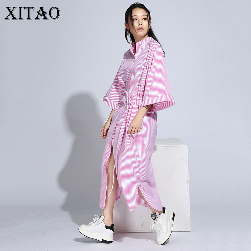 [XITAO] 2016 Κορέας γυναίκες φθινόπωρο χαλαρό ριγέ φόρεμα πουκάμισο περιστασιακή χαλαρό μισό μανίκι στάση κολάρο αστράγαλο φόρεμα μήκους HJF005