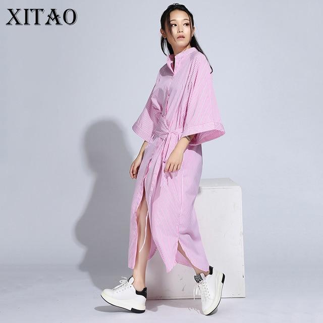 [Xitao] 2016 корейский Осенние женские свободные полосатые платье-футболка случайные свободные Половина рукавом Стенд воротник платье длиной до лодыжки hjf005