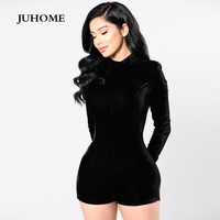 Autumn Female Jumpsuits Women Rompers Black Body Suit Clothing Coveralls Long Sleeve Dungarees Winter Macacao Shorts