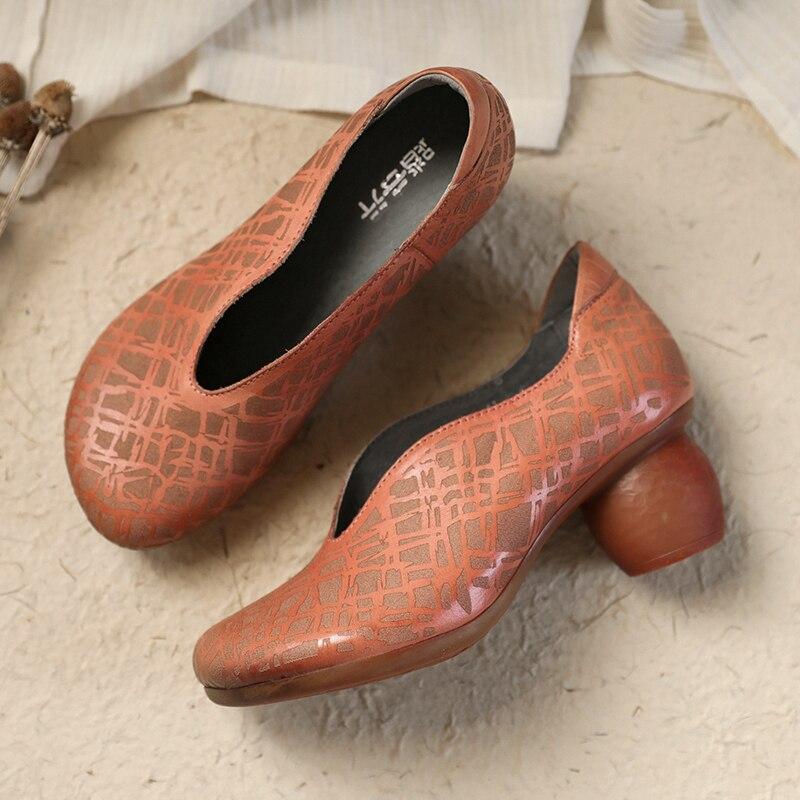 Rétro Femmes Tayunxing Pompes Véritable Dame on Slip Haut 70 De En Talon Confort Faible À 2308 La Main Cuir Chaussures S7vq1SxwA4