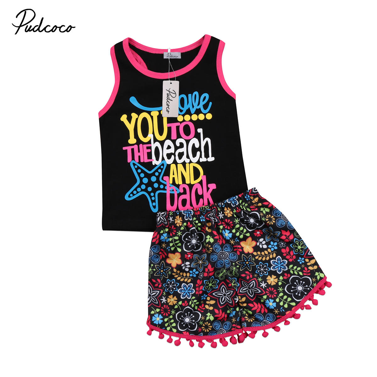 2018 Brand New Toddler Infant Child Kids Baby Girls Summer Outfits Clothes Sleeveless T-shirt Tops+Short 2PCS Colorful Set 6M-5T hot sale 2016 kids boys girls summer tops baby t shirts fashion leaf print sleeveless kniting tee baby clothes children t shirt