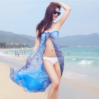 Summer Scarf Women Printed Silk Chiffon Foulard Femme Hijab Beach Cover Up Sarong Wrap Shawl Sunscreen