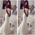 Elegant Mermaid Wedding Dresses 2017 Off-the-shoulder Slinky Lace Wedding Gowns