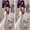 Elegante Sereia Vestidos de Noiva 2017 Off-the-ombro Slinky Lace Vestidos de Casamento