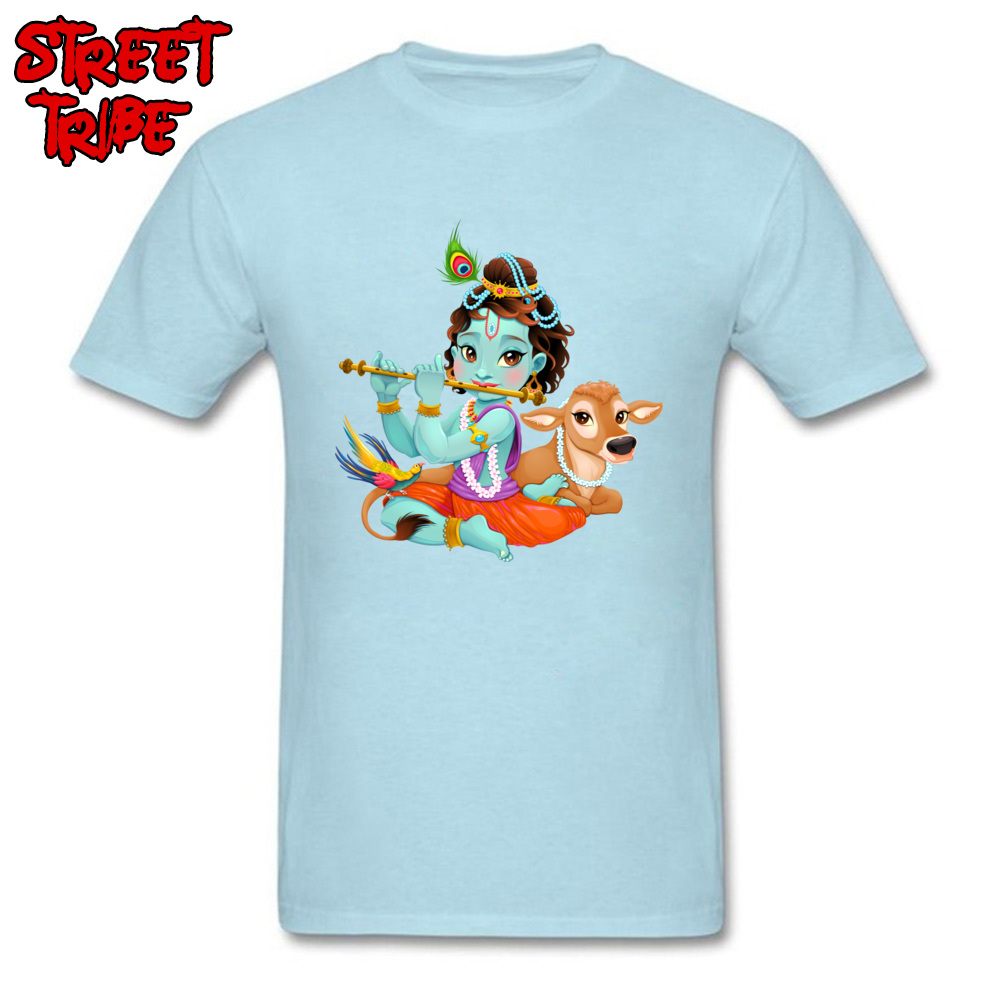 Short Sleeve Tops Tees Round Collar 100% Cotton Men T-Shirt Baby Krishna with sacred cow Printing Tops T Shirt New Coming Baby Krishna with sacred cow light