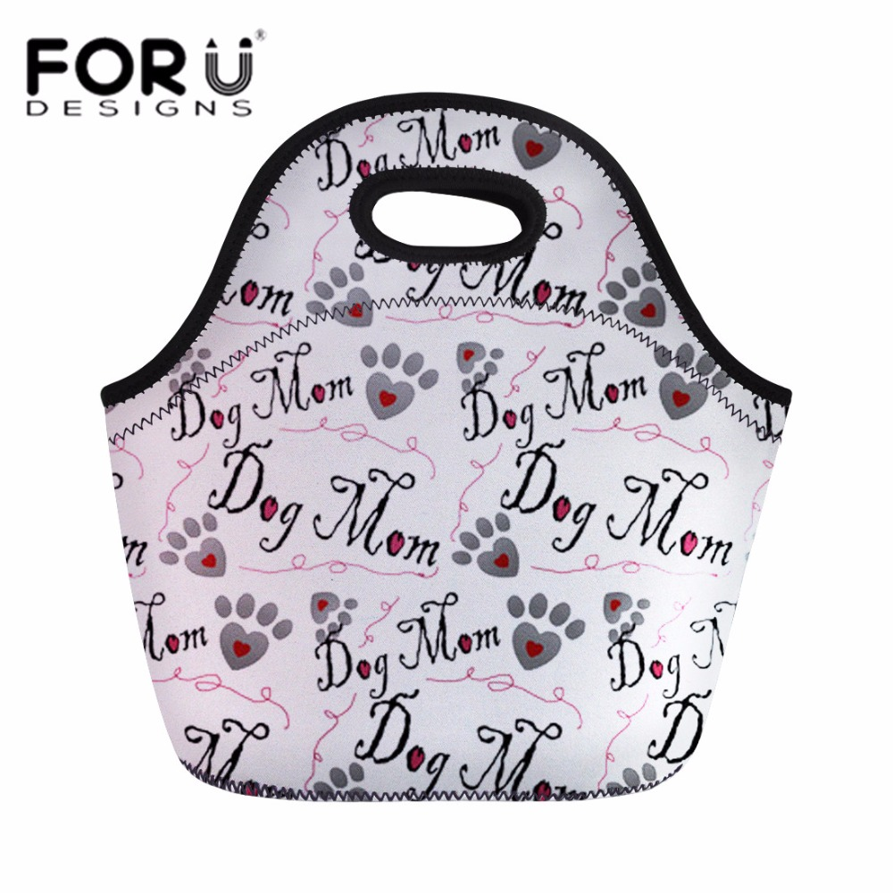 FORUDESIGNS Children Lunch Box for Kid Girls Dog Bone Paw Print Food Fruit Bag Women Handbag Insulated Thermal Lunch Bags Picnic