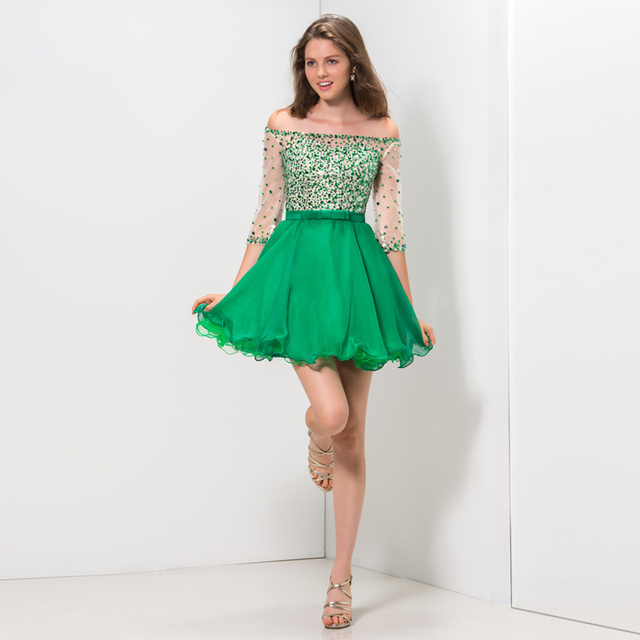 Luxury Fancy Emerald Green Cocktail Dresses Off the shoulder 3/4 ...