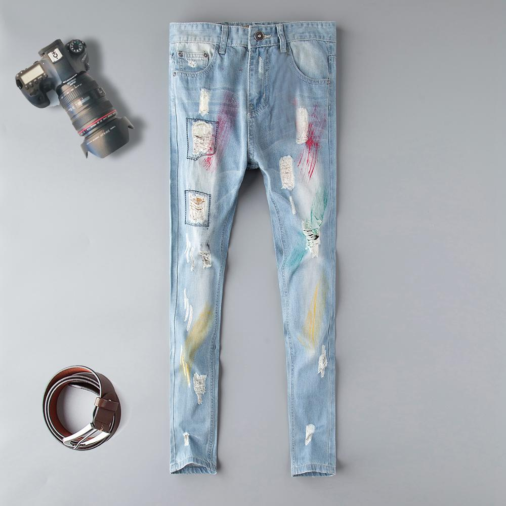Fashion blue Embroidery Flower designer Zipper Wash Jeans Men High Quality Slim Denim distressed Pants Brand Straight Pants-in Jeans from Men's Clothing on AliExpress - 11.11_Double 11_Singles' Day 1