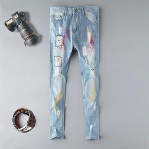 Image 1 - Fashion blue Embroidery Flower designer Zipper Wash Jeans Men High Quality Slim Denim distressed Pants Brand Straight Pants