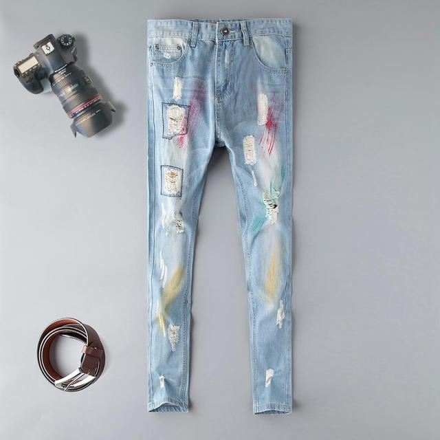 Fashion blue Embroidery Flower designer Zipper Wash Jeans Men High Quality Slim Denim distressed Pants Brand Straight Pants