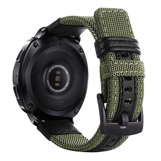 삼성 기어 스포츠/갤럭시 시계 42mm/garmin vivoactive 3/ticwatch 2/e 용 easy fit 나일론 및 가죽 밴드 스트랩