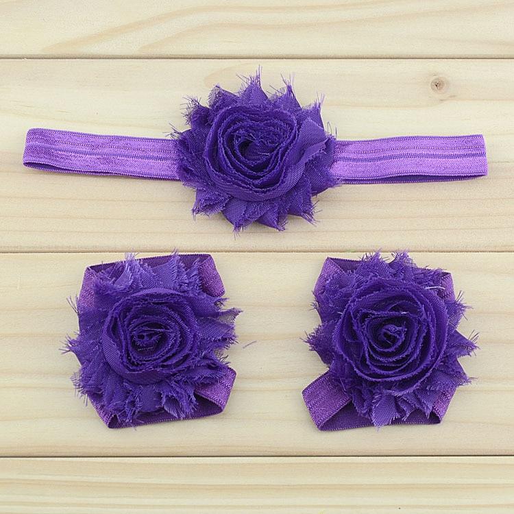 """Украшение для детей, повязка на голову, повязка для малышей цветы в стиле """"шэбби шик"""" повязка на голову босоножки ботинки и набор повязок для новорожденных; детская одежда для девочек аксессуары для волос - Цвет: purple"""