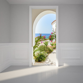 Home Decor สติกเกอร์ PVC โปสเตอร์ดอกไม้ภูมิทัศน์ทะเล Self Adhesive 3D พิมพ์ผ้าใบ Living Room Art Picture
