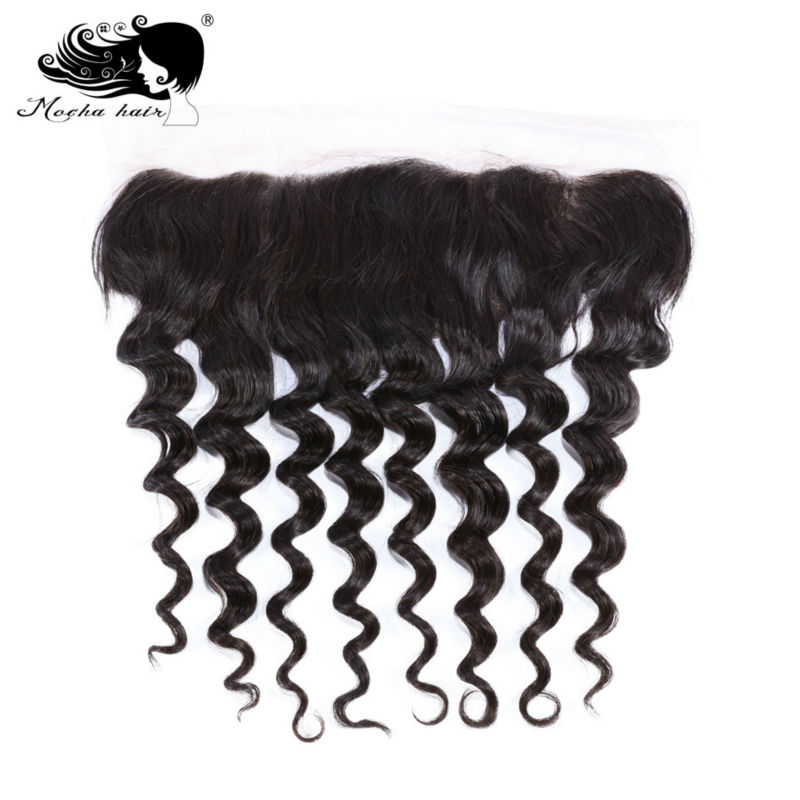 Mocha Hair 13*4 Lace Frontal Closure Loose Wave  Brazilian Virgin Hair Bleached Knot 100% Human Hair Natural Color