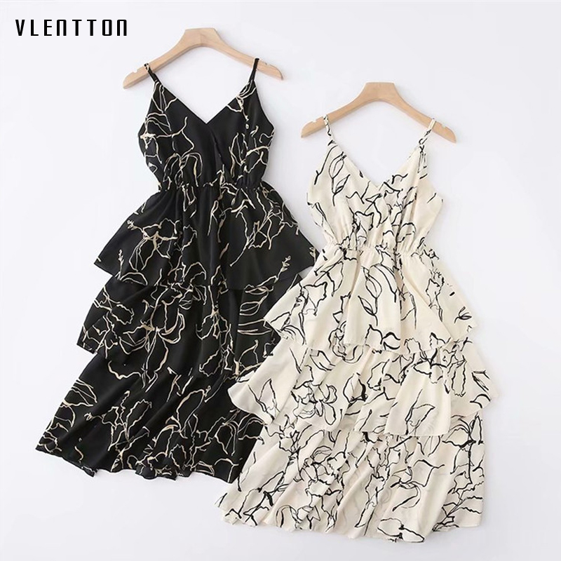 2019 New Sexy Midi Dress Women V Neck Sleeveless Ruffles Print Elegant Party Dress Spring summer Sling Beach Dresses Vestidos in Dresses from Women 39 s Clothing