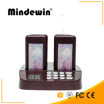 Mindewin 315MHz and 433MHz Wireless Queue Management System Restaurant Buzzers and Beepers Coaster Pager System 16 Calls