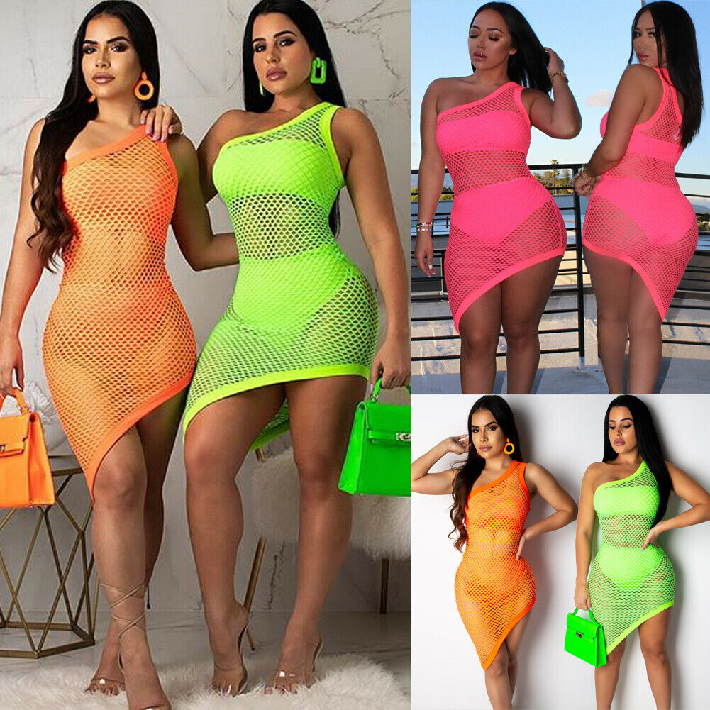 Fashion Summer Womens Ladies Mesh Sheer See-through Dress Club Party Beach Cover Up One Shoulder Hollow Out Bodycon Mini Dress