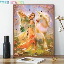 купить Diy Full Resin Round Diamond Painting Rhinestones Embroidery Kit Princess And Unicorn Cartoon Mosaic Decor As A Good Hobby Gift дешево