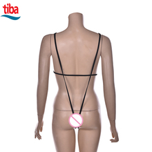 TB-0705 black PU leather deep-V bodysuit sexy lingerie backless open bra teddy sex product temptation bandage erotic lingerie