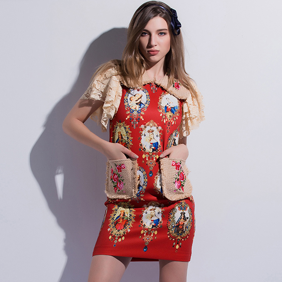 AELESEEN Designer Dresses Women 2018 High Quality Luxury Fashion Short Sleeve Print Red/Black Print & Embroidery Patchwork Dress-in Dresses from Women's Clothing    2