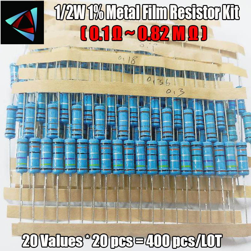 400 Pcs 20 Values Colored Ring Resistor 1/2W Resistance 1% Metal Film Resistor Assorted Kit (0.1 Ohm ~ 0.82 Ohm)