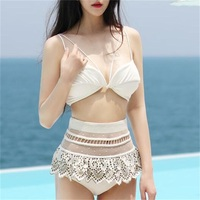 2017 Sexy Bikinis Set Bandage Swimwear Women Perspective Lace Bikini Embroidery Hollow Out Bathing Suit High