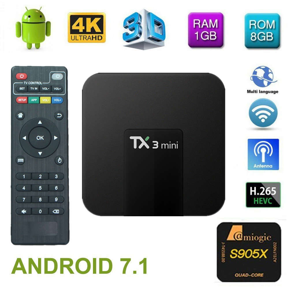 TX3 Mini tvbox set-top box Android 7.1 Quad Core Amlogic S905W ROM 4K WiFi 2G DDR3 16G 4K HD H.265 Media Player pk x96 mini