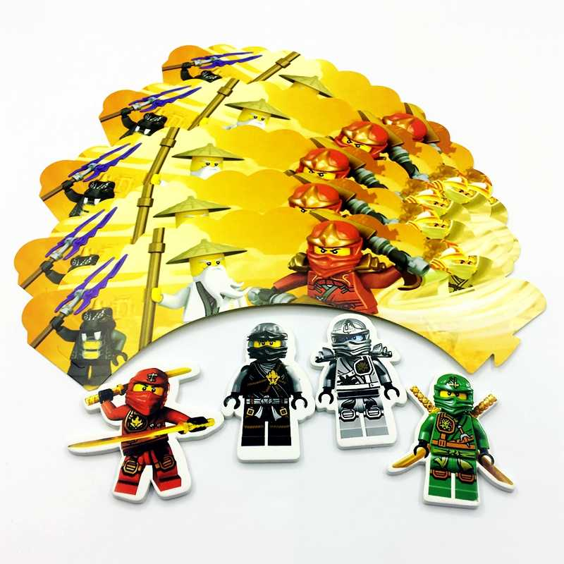 Ninjago Theme Cake Accessory 24pcs/lot 12pcs Wrappers + 12pcs Toppers for Children Kids BoysBirthday Party Cupcake Decoration