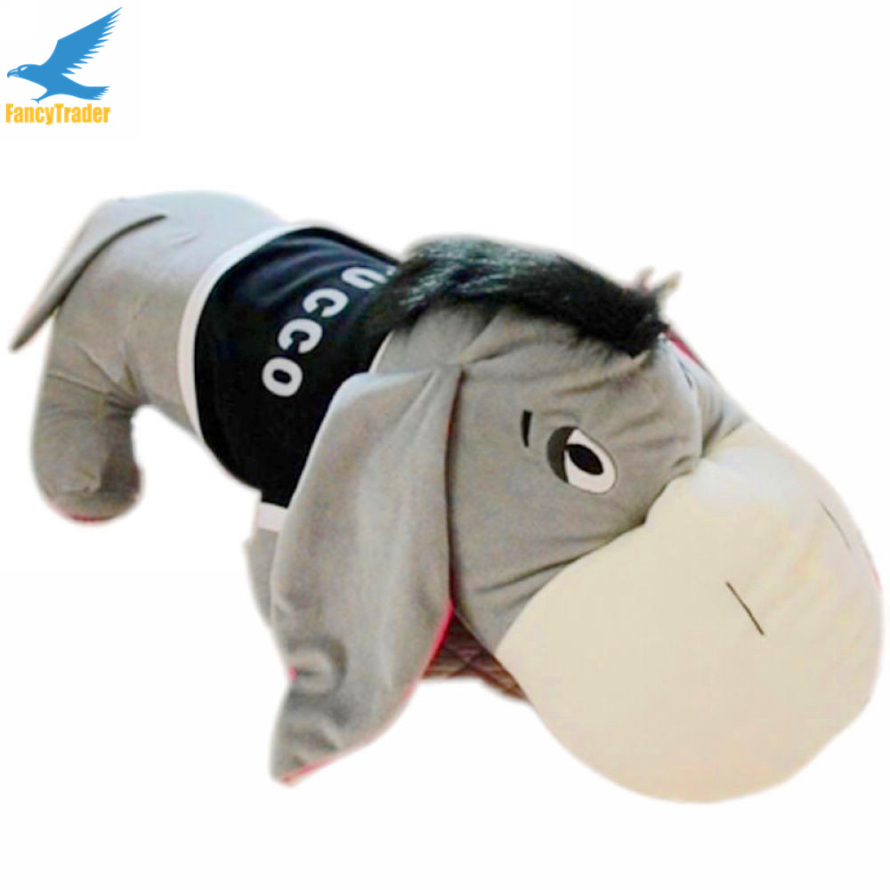 Fancytrader New High Quality Donkey Eeyore Toy 55'' 140cm Big Giant Plush Stuffed Donkey Eeyore, Good Gift Free Shipping FT90550 fancytrader 2015 new 31 80cm giant stuffed plush lavender purple hippo toy nice gift for kids free shipping ft50367